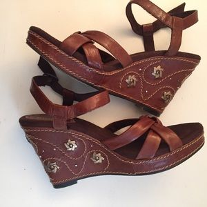 Seychelles Wedge Sandals Strap Sz 10 Red Leather